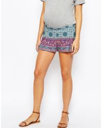ASOS - Purple Maternity Paisley Border Pleat Shorts - Lyst