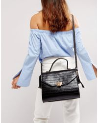 Dune - Black Sammy Croc Effect Crossbody Bag - Lyst