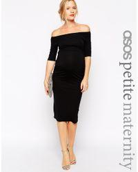ASOS | Black Petite Bardot Dress With Half Sleeve | Lyst