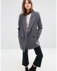 ASOS | Gray Classic Fit Peacoat | Lyst