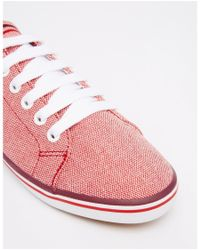 Fred Perry - Pink Kingston Two Tone Canvas Red Plimsoll Trainers - Lyst