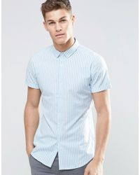 ASOS | Skinny Stripe Shirt In Blue for Men | Lyst
