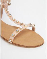 Dune - Brown Blush Snake Studded Gladiator Sandals - Lyst
