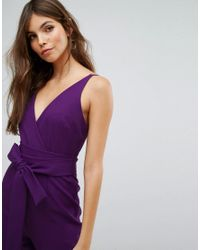 ASOS - Purple Design Wrap Front Jumpsuit With Peg Leg And Self Belt - Lyst
