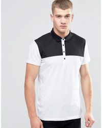 Jack & Jones | White Polo Shirt With Quilted Yoke Panel for Men | Lyst