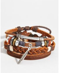 ASOS   Brown Leather Bracelet Pack With Feather for Men   Lyst
