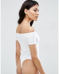 ASOS - White The Halter Neck Body In Rib With Thong - Black - Lyst