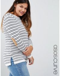 ASOS | Blue Jumper In Stripe With Oval Tan Elbow Patch | Lyst