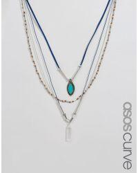 ASOS - Blue Multirow Cord & Bead Necklace - Lyst