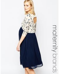 Maya Maternity | Blue Sheer Embellished Midi Dress With Cut Out Back | Lyst