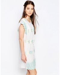 Hazel - White Pastel Embroidered Smock Dress - Lyst