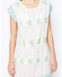 Hazel - White Pastel Embroidered Smock Dress - Lyst
