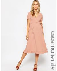 ASOS - Natural Midi Wrap Tea Dress - Pink - Lyst