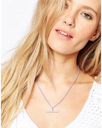 Me & Zena - Purple T-bar Necklace - Lilac - Lyst