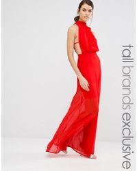 Missguided | Red Exclusive High Neck Open Back Maxi Dress | Lyst