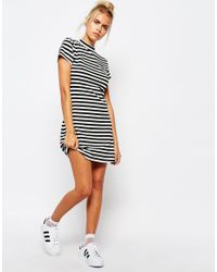 Lazy Oaf - Black Striped Bodycon Dress With Small Rose Embroidery - Lyst