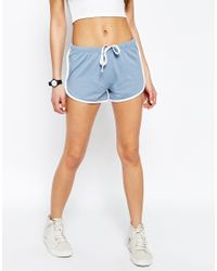 ASOS - Blue Basic Cotton Shorts With Contrast Binding - Lyst