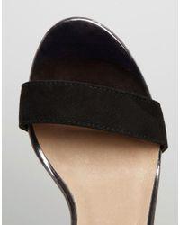 Lost Ink - Black Darima Floral Block Heeled Sandals - Lyst