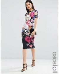 ASOS | Black Placed Floral Print T-shirt Dress | Lyst