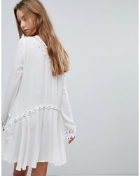 Surf Gypsy - White Crochet Trim Lace Up Beach Cover Up - Lyst