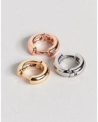 ASOS - Multicolor Pack Of 3 Mixed Mini Hinge Hoop Earrings - Lyst