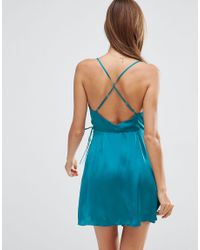 ASOS - Blue Ruched Side Satin Mini Slip - Teal - Lyst