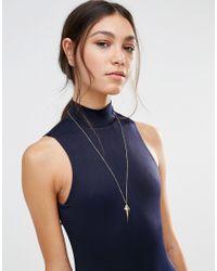 Orelia - Metallic Solid Metal Gem Pendant Necklace - Gold - Lyst