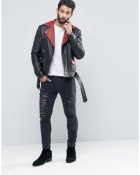 ASOS - Belted Leather Biker In Black With Red Lapel Detail for Men - Lyst
