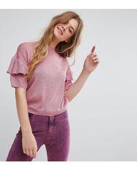 Monki - Pink Knitted Ruffle Short Sleeve Sweater - Lyst