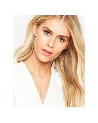 Orelia | Metallic Circle Chain Drop Stone Necklace - Gold | Lyst
