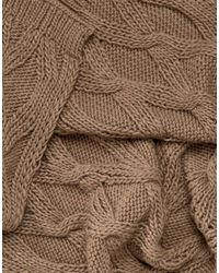 French Connection - Natural Chunky Oatmeal Knitted Scarf - Lyst