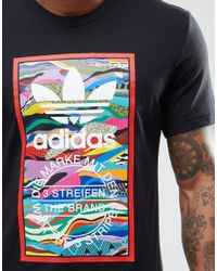 Adidas Originals - Black Colour Pattern T-shirt Az1054 for Men - Lyst