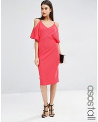 ASOS | Pink Pencil Dress With Cold Shoulder | Lyst