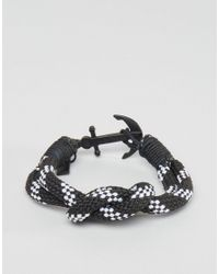 Icon Brand - Black Stripe Anchor Woven Bracelet for Men - Lyst