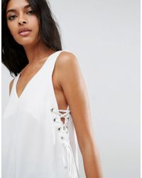 ASOS - White Tank With Lace Up Sides - Lyst