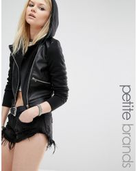 Noisy May Petite - Hooded Faux Leather And Jersey Biker Jacket - Black - Lyst