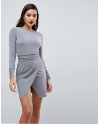 ASOS - Gray Asos Wrap Mini Dress With Ruched Details - Lyst