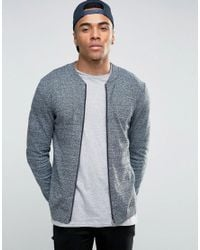 ASOS | Blue Knitted Cotton Bomber Jacket In Muscle Fit for Men | Lyst