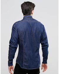 G-Star RAW - Blue Arc 3d Denim Shirt for Men - Lyst