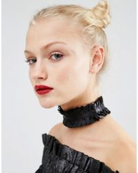 ASOS | Black Wide Ruffle Choker Necklace | Lyst