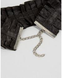 ASOS | Black Wide Ruffle Choker Necklace | Lyst