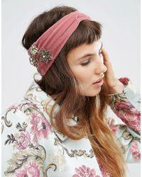 ASOS - Pink Velvet Brooch Turban Headband - Lyst
