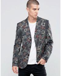ASOS   Green Slim Blazer In Flower Camo Print for Men   Lyst