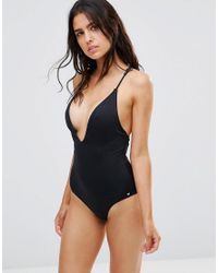 French Connection | Black Plunge Swimsuit With Strap Back Detail | Lyst