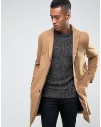Jack & Jones. Men's Natural Premium Overcoat In Wool Mix