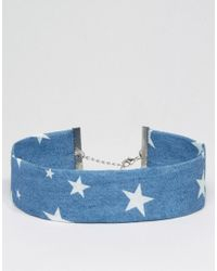 ASOS | Blue Wide Stars Choker Necklace | Lyst