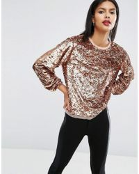 ASOS | Brown Slouchy Top In All Over Sequins | Lyst