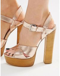 Lost Ink - Metallic Roxa Gold Platform Heeled Sandals - Lyst