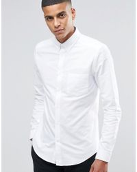 Reiss | White Slim Oxford Shirt With Button Down Collar for Men | Lyst