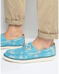 Timberland - Blue Hookset Print Boat Shoes for Men - Lyst